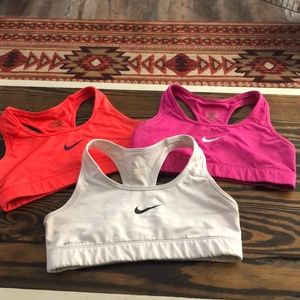Hot coral/pink/white Nike bra bundle
